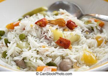 basmati, légume, minestrone, ricewith