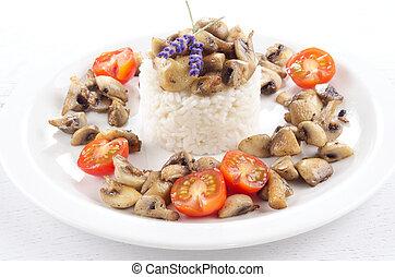 basmati rice with mushroom and lavender