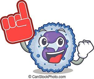 Basophil cell mascot cartoon style holding a Foam finger. ...