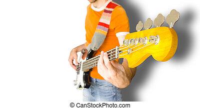 basowy gitarowy gracz