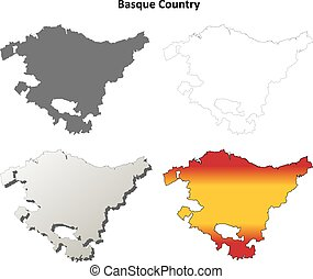 Basque Country blank detailed outline map set