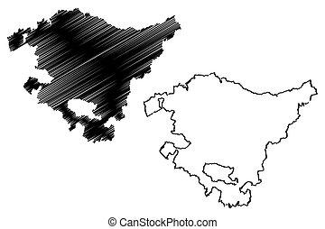Basque Country (Kingdom of Spain, Autonomous community) map vector illustration, scribble sketch Basque Autonomous Community map