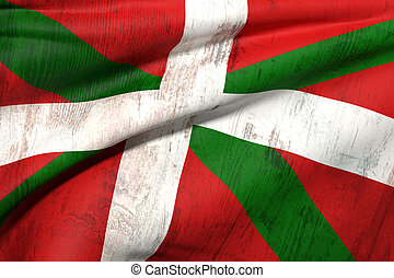 Basque flag - 3d rendering of an old and dirty Basque ...