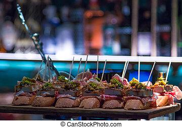 basque, typique, cuisine, pays, tapas, gourmet, brochettes