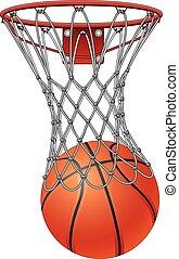 basquetebol, através, rede