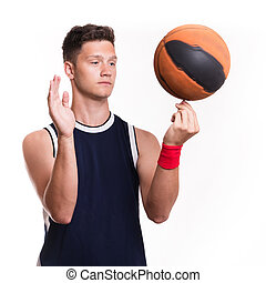 basquetebol, bola, jogador, seu, dedo, voltas