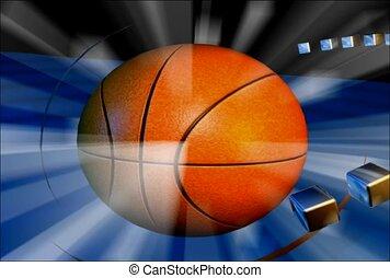 basquetebol, bola, luz, flash