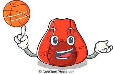 basquetebol, bolsa feijão, forma, cadeira, caricatura