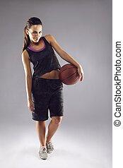 basquetebol, bonito, jovem, jogador, femininas, retrato