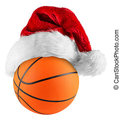 basquetebol, chapéu, santa