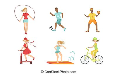 basquetebol, corda, tipos, scooter, meninas, hóquei, pontapé, ilustração, esportes, surfboarder, ciclista, jogo, pular, montando, pessoas, vetorial, diferente, futebol, jogador