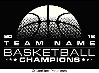 basquetebol, desenho, nome, campeões, equipe