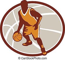 basquetebol, driblar, jogador, bola, retro, oval