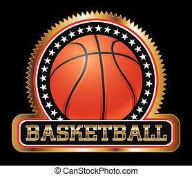 basquetebol, emblema, ou, selo