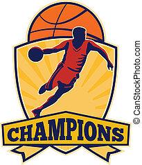 basquetebol, escudo, driblar, jogador, bola, retro