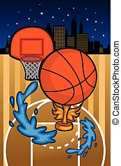 basquetebol, fundo, modelo