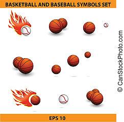 basquetebol, grande, bolas, jogo, basebol, desporto