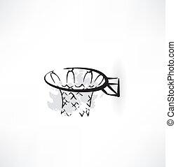 basquetebol, grunge, ícone