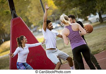 basquetebol, grupo, pessoas, jovem, multiracial, ao ar livre, tocando