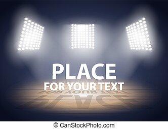basquetebol, holofotes, arena., lights., três, ilustração,...