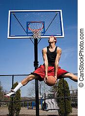 basquetebol, homem, dunking