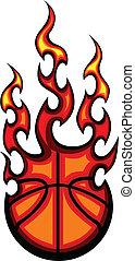 basquetebol, illu, vetorial, flamejante, bola