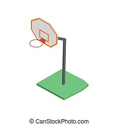 basquetebol, illustration., isometric, vetorial, cesta, escudo