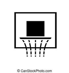 basquetebol, ilustração, aro, isolado, sinal, vetorial, experiência preta, ícone