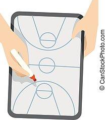 basquetebol, ilustração, placa jogo, mãos, plano