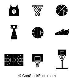 basquetebol, jogo, ícone