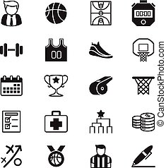 basquetebol, jogo, ícones