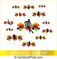 basquetebol, jogo, colorido, estrelas, equipe
