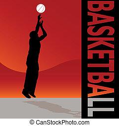 basquetebol, lançar, bola, homem