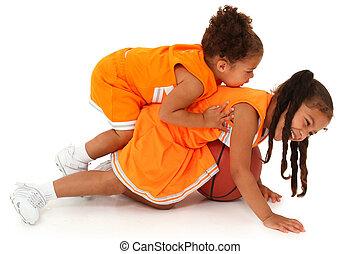 basquetebol, meninas, dois, african-hispanic, adorável, tocando