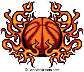 basquetebol, modelo, chamas, vec