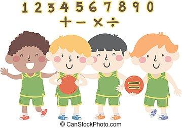 basquetebol, números, meninos, matemática, ilustração, crianças
