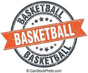 basquetebol, selo, vindima, isolado, laranja, grungy, redondo