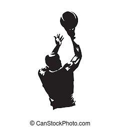 basquetebol, silueta, abstratos, jogador, vetorial, tiroteio, bola