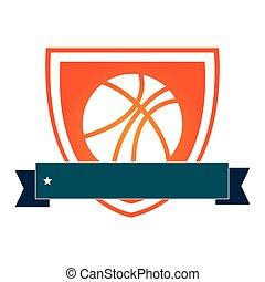 basquetebol, silueta, cor protetor, bola, fita