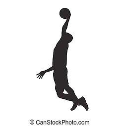basquetebol, silueta, dunking, isolado, jogador, vetorial