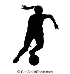 basquetebol, silueta, jogador bola, executando, vetorial, mulher, menina