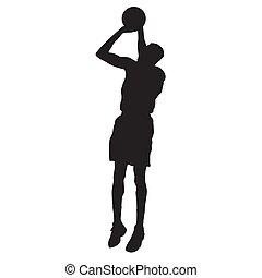 basquetebol, silueta, pular, jogador, vetorial, shooting.