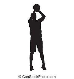 basquetebol, silueta, pular, jogador, vetorial, tiroteio, ball.
