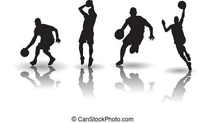 basquetebol, silueta, vectors