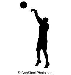 basquetebol, silueta, vetorial, tiroteio, jogador