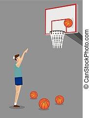 basquetebol, tiro, perdido, ilustração, uninspiring, vetorial