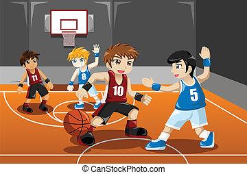basquetebol, tocando, crianças