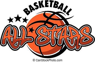 basquetebol, tudo, estrelas