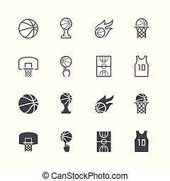 basquetebol, vetorial, jogo, ícone