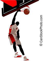 basquetebol, vetorial, players., ilustração
